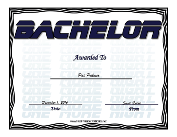 Bachelor certificate