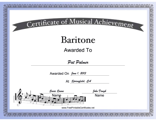 Baritone Vocal Music certificate