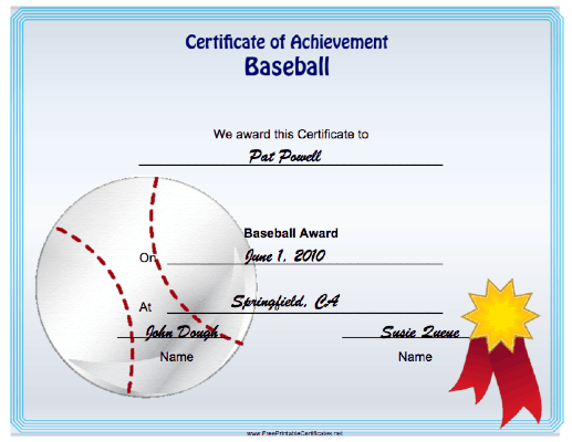 Baseball Achievement certificate