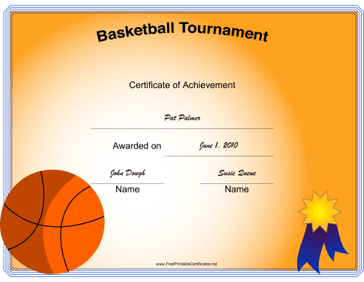 Basketball Tournament certificate