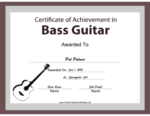 Bass Guitar Instrumental Music certificate
