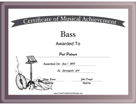 Bass Vocal Music certificate
