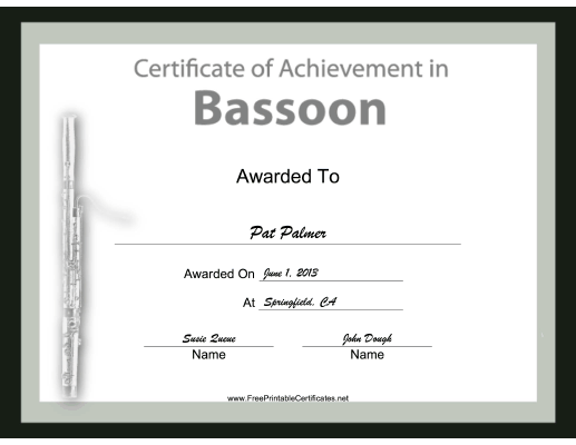 Bassoon Instrumental Music certificate
