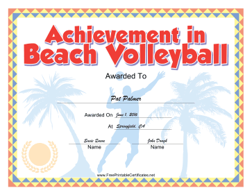 Beach Volleyball certificate