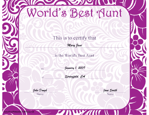 World's Best Aunt certificate