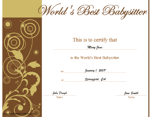 World's Best Babysitter certificate