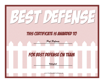 Best Defense Award certificate