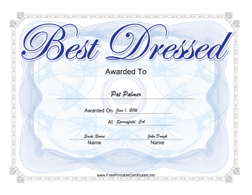 Best Dressed Yearbook certificate