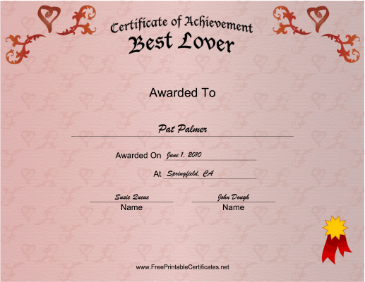 Best Lover certificate