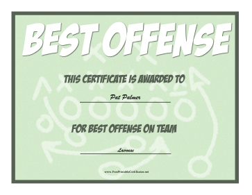 Best Offense Award certificate