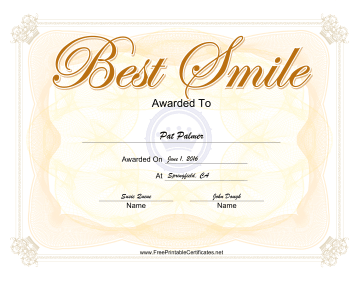 Best Smile Yearbook certificate