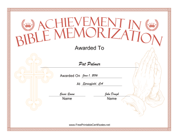Bible Memorization Prayer certificate