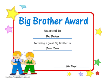 Big Brother Award certificate