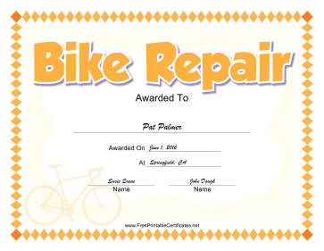 Bike Repair certificate