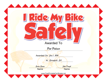 Bike Safety certificate