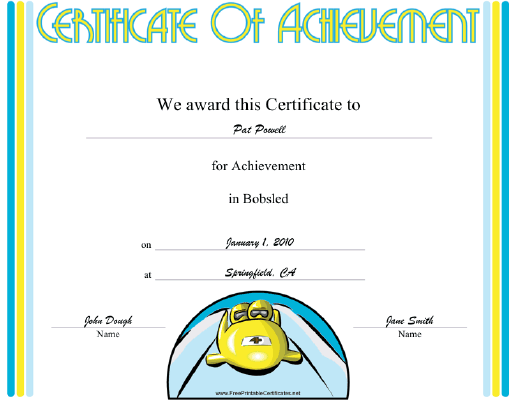 Bobsled certificate