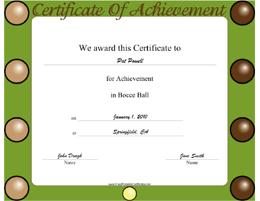 Bocce Ball certificate