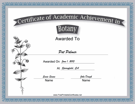 Botany Academic certificate