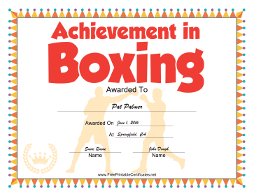 Boxing certificate