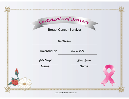 Breast Cancer Bravery certificate