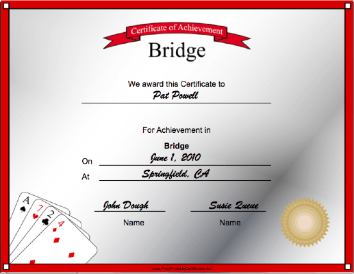 Bridge Achievement certificate