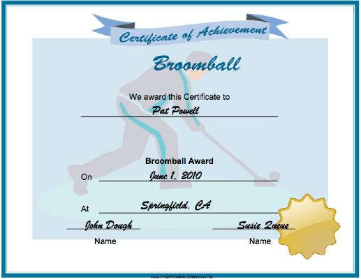 Broomball Achievement certificate