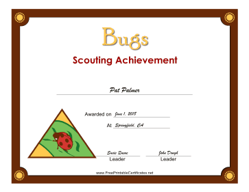 Bugs Badge certificate