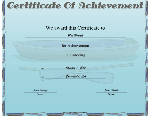 Canoeing certificate