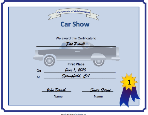 Car Show 1st Place certificate