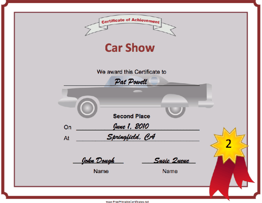 Car Show 2nd Place certificate