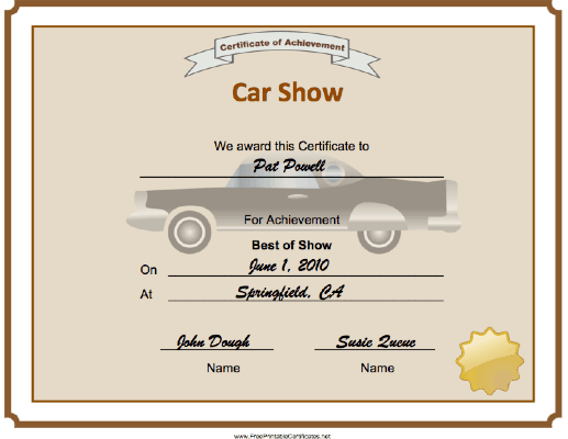 Car Show Best of Show certificate