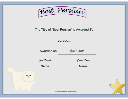 Best Persian certificate