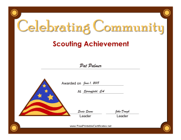 Celebrating Community Badge certificate