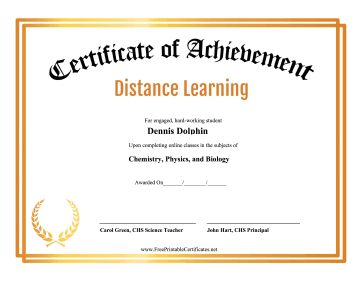 Certificate Of Achievement Distance Learning certificate