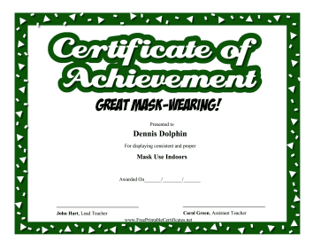 Certificate Of Achievement Mask-Wearing certificate