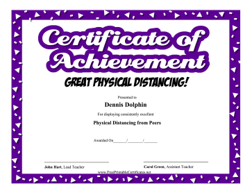 Certificate Of Achievement Physical Distancing certificate