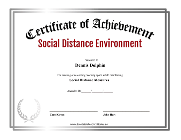 Certificate Of Achievement Social Distance Environment certificate