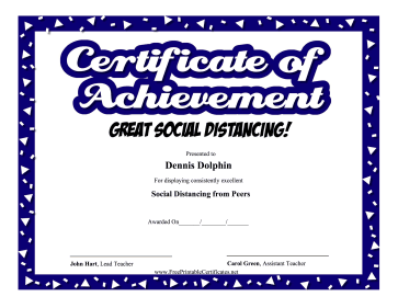 Certificate Of Achievement Social Distancing certificate
