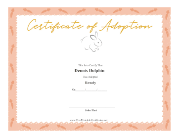 Certificate Of Adoption Rabbit certificate