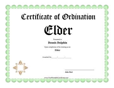 Certificate Of Ordination Elder certificate