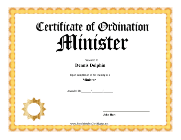 Certificate Of Ordination Minister certificate