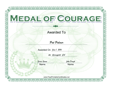 Courage certificate