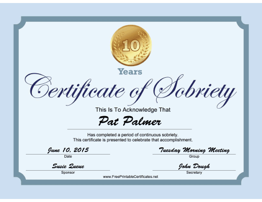 10 Years Sobriety Certificate (Blue) certificate