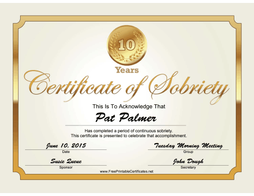 10 Years Sobriety Certificate (Gold) certificate
