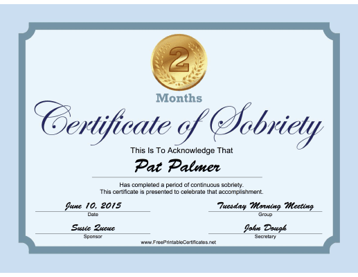 2 Months Sobriety Certificate (Blue) certificate