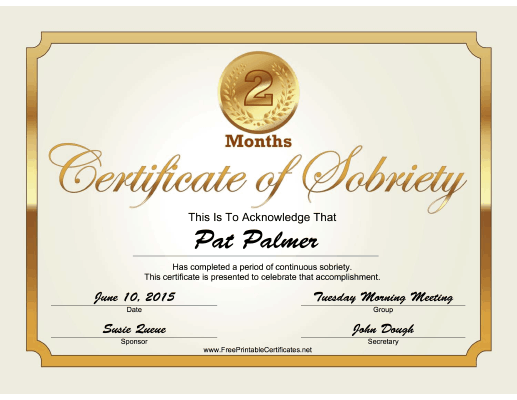 2 Months Sobriety Certificate (Gold) certificate