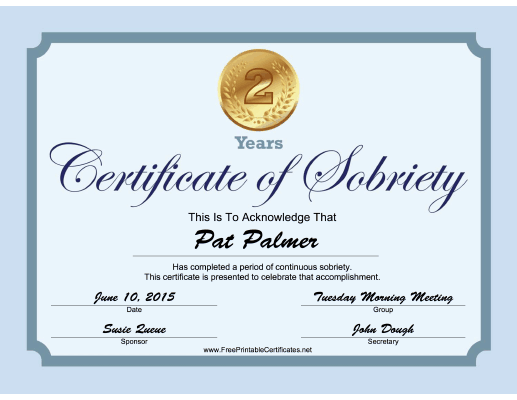 2 Years Sobriety Certificate (Blue) certificate