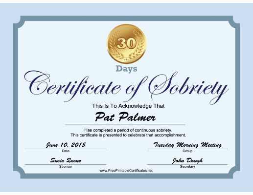 30 Days Sobriety Certificate (Blue) certificate