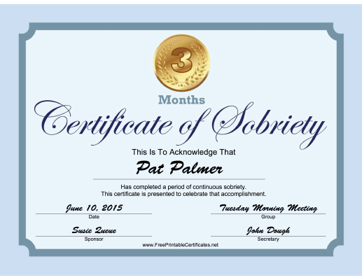3 Months Sobriety Certificate (Blue) certificate