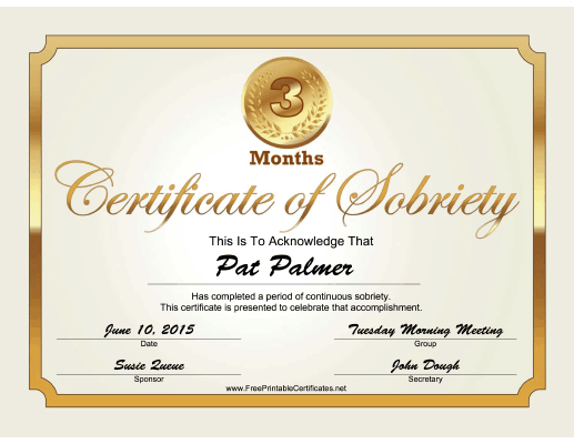 3 Months Sobriety Certificate (Gold) certificate